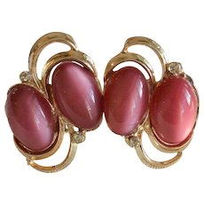 Purple Moonglow Thermoset Clip Earrings with Rhinestones