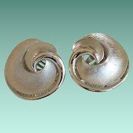 Crown Trifari Swirl Clip Earrings in Silver Tone