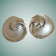 Crown Trifari Swirl Clip Earrings in Silver Tone