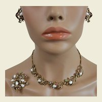 Coro Three Piece Necklace Set Baroque Faux Pearls and Rhinestones