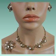 Coro Three Piece Parure Baby Tooth Baroque Faux Pearls and Rhinestones
