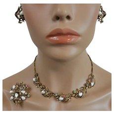 Coro Book Piece - Baroque Faux Pearls with Rhinestones Three Piece Parure