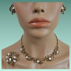 Coro Book Piece - Baroque Faux Pearls with Rhinestones Three Piece Parure