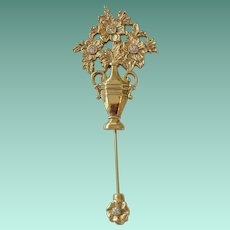 Spring Flowers Urn Stick Pin 1928 Jewelry Company