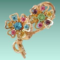 Coro 1960's Rhinestone Flowers Pin