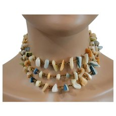 Mother of Pearl Three Strand Necklace of Pastel Colors