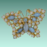 Blue Moonglow Glass Spring Butterfly Pin
