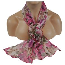 Floral Matching Scarf and Corsage Set Raspberry Pink and Olive Green