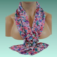 Women's Scarf Set New Old Stock Floral Blue Pink Purple Green