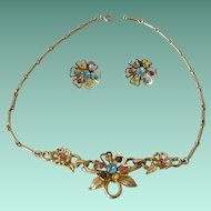 Coro Necklace and Screw Back Earrings Colored Rhinestone Florets
