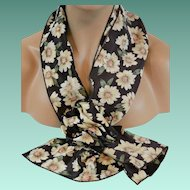 Woman's Scarf Set New Old Stock Flowers on Chocolate Background