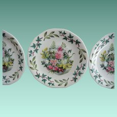 "Queen Anne ""Royal Academy ""   Three Saucers Set Artist Fedden"