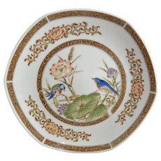 Four Hexagonal Salad Plates Asian Nature Scene Theme