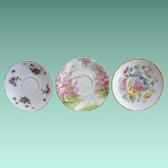 English Bone China Saucers Mixed Set of Three