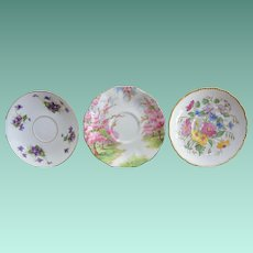 English Bone China Saucers Mixed Set of Three