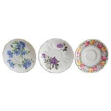 Three English Bone China Tea Cup Saucers