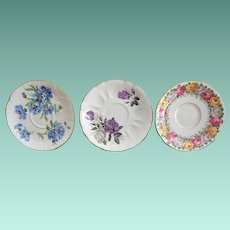 Three English Bone China Tea Cup Saucers