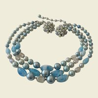 Three Strands Blue Art Beads Necklace and Clip Earrings Set - Japan