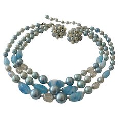 Three Strands Blue Art Beads Necklace and Clip Earrings - Japan
