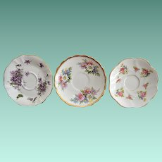 Three English Bone China Saucers Rosina and Hammersley