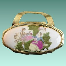 Courting Scene Cameo Purse Lipstick Holder with Mirror