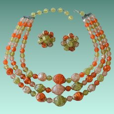 Crackle Beads Necklace and Earrings Set Tangerine Olivine Colors