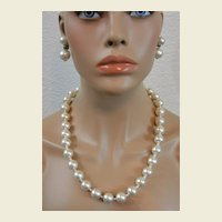 Large White Faux Pearls 17.5 Inch Necklace and Clip Earrings Signed Japan