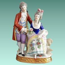 Sitzendorf Porcelain 18th Century Styled Noble Couple Figurine