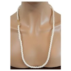 Marvella Bayadere Weave Faux Pearls Necklace