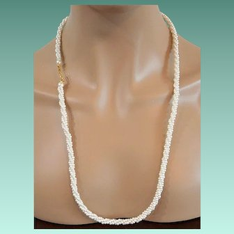 Long Faux Pearls Torsade Necklace Signed Marvella