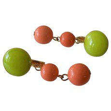 Vendome Lime and Peach Colors Drop Earrings