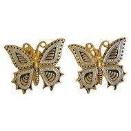 Damascene Butterfly Figure Earrings