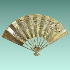Enesco Brass Wall Hanger Fan Phoenix Bird