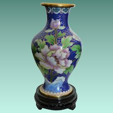 Peony Flowers Blue Cloisonne Vase with Stand