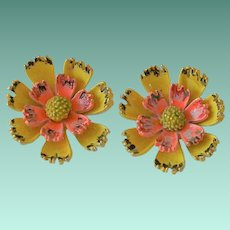 Signed ART Daisy Flower Clip Earrings.