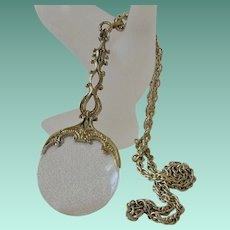 Magnifying Glass Antique Gold Tone Pendant Necklace