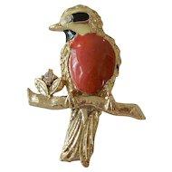 Red Bird Figure Pin with Rhinestones