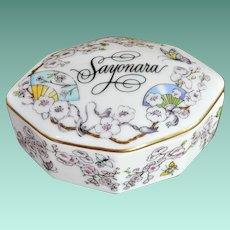 """Franklin Porcelain 1984 """"Sayonara"""" Music Box"""