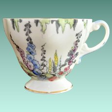 Foley Footed English Tea Cup No. V 2182 Pastel Flowers