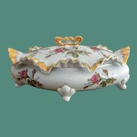 Covered Vanity Dish with Rose Flower Pattern