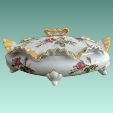 Covered Vanity Dish Pink Roses Pattern