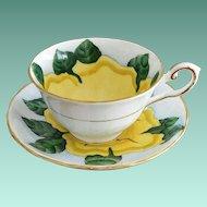 "Tuscan ""Hawaiian Flowers Cup of Gold"" English Bone China Cup and Saucer Set"
