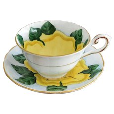 "Tuscan ""Hawaiian Flowers Cup of Gold"" English Bone China Cup and Saucer Set"
