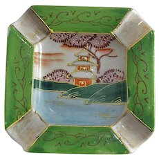 Hand Painted Pagoda Scene Occupied Japan Ashtray