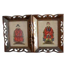 Chinese Ancestral Needle Point Portraits