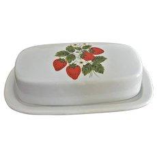 McCoy Quarter Pound Butter Dish Strawberries Motif