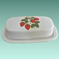 McCoy Quarter Pound Butter Dish Strawberries Motif