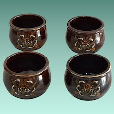 Japanese Hand Decorated Redware Moriage Rice Bowls in Brown (4)