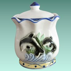 Chinese Export Tea Jar with Dolphins