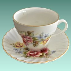 Staffordshire James Kent Old Foley  England Tea Cup and Saucer Pink Yellow Roses